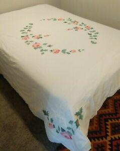 Vtg White Cotton Duvet Cover Pink Rose Applique Full Size Scalloped Hem Cottage