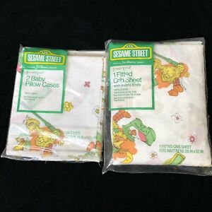 Vintage Sesame Street Fitted Crib Sheet And 2 Pillow Cases Toddletime New