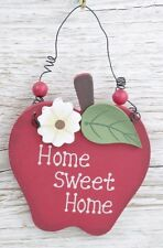 Wall Plaque Home Sweet Home Red Apple Shaped Sign 13cm Friendship Gift F0568HSH