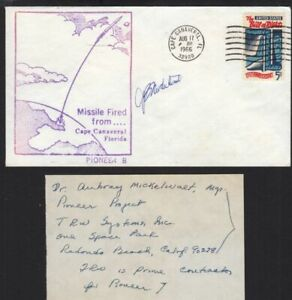 1966 Pioneer 7 launch, tracked Halley's Comet, signed by TRW Project Manager