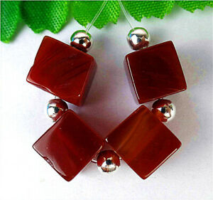 8mm 4Pcs Brown Red Stripes Onyx Agate Cube Height Hole Pendant Bead BV9485