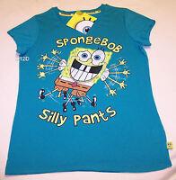 Nickelodeon SpongeBob Squarepants Silly Ladies Aqua Printed T Shirt Size XS New