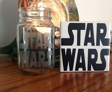 Star Wars Coaster and 16 oz Glass Pint Jar Mug (Glass Etched)