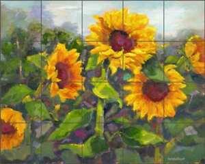 Sunflower Tile Backsplash Nanette Oleson Floral Art Ceramic Mural RW-NO014