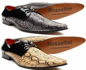 Mens 2 Tone Exotic Oxford Faux Snake Print Patent Lace Up Slip On Formal Wear
