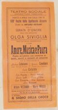 LOCANDINA TEATRO TEATRALE TEATRO SOCIALE OLGA SIVIGLIA RECITAZIONE 1949 MUSICA