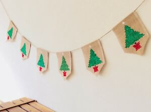 Christmas Tree Bunting Banner Hessian Burlap