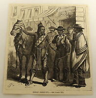 1879 magazine engraving ~ NATIVE AMERICAN WITH HORSE talks to group of men