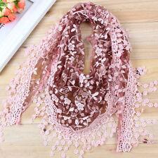 Women Ladies Soft Long Neck Large Flower Tassel Scarf Wrap Shawl Lace Stole Soft
