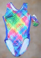 Nwot Axis Activewear Gymnastic Plaid Look Racer Back Multi-Color Medium Child