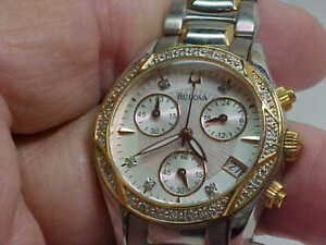 NICE USED LADIES BULOVA CHRONOGRAPH WATCH S/S GOLD PLATE DIAMOND BEZEL/DIAL C660