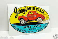 Jerry'S Auto Parts Washington Vintage Style Decal / Sticker, rat rod, racing,car