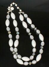 Vintage Lisner White Lucite Aurora Borealis Beaded Necklace Two Strand