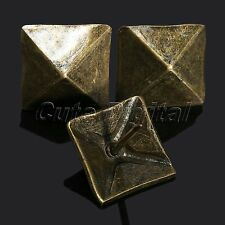 50Pcs Vintage Bronze 19x19mm Square Upholstery Nails Tacks Furniture Decorative