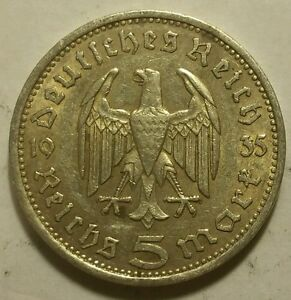 Germany Nazi 5 Reichsmark 1935 A .900 Silver Coin 728