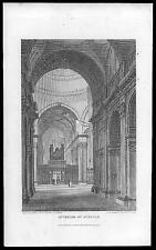 1805 impresión Original Antigua-Interior de St Paul's Cathedral LONDRES (014)