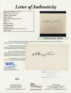 Dazzy Vance Elegantly Signed JSA LOA Index Card Auto Autographed COA Signature