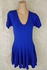 Reiss Women's Vneck Dress Size US 8 UK 12 Royal Blue Short Sleeve Pockets C