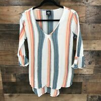 Bobeau Women's Multicolor Striped V-Neck Long Sleeve Hi-low Hem Blouse Size Med