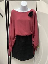 Andrew J. Cotton Pink Black Bodycon Bat Wings Top Dress Removable Broach Size S