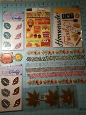 Scrapbooking Set Of 7 Autumn Themed Items: Stickers, Leaves, Borders, Ect.- NEW