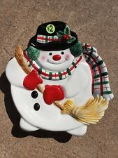 Fitz & Floyd Snowman Decorative Canape Plate Hand Crafted China Collectible