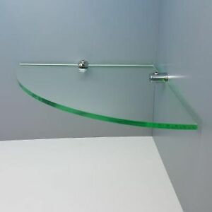 Acrylic Corner Saftey Shelf With Chrome Fixings Sizes 100 mm to 450 mm, 3 colors
