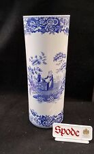 """SPODE BLUE ITALIAN / BLUE ROOM COLLECTION CYLINDER VASE 12 3/4"""" ENGLAND *NEW*"""