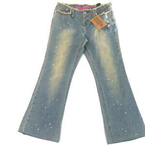 Womans Teen Size 11 Button Front Distressed Denim Blue Jeans