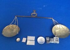 Vintage Collectable Asian Gold Or Opium Scale & Nine Original Weights