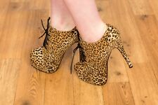 Super sexy skyscraper leopard print lace up shoe boots Koi Couture size 5