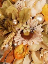 shabby chic bouquet fall yellow cream rust garden fabric brooch bouquet