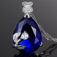 Sarotta Jewelry Pear Cut Blue Sapphire Gold Plated Pendant Necklace Chain Lady
