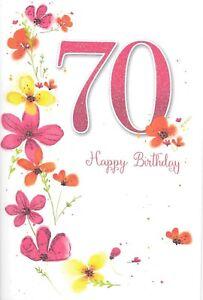 Ladies 70th Happy Birthday Flowers Card. Cute Flower Design Card