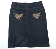 Rockmans Denim Knee Length Straight Skirt Embroidery Women's Size 10 RRP $49.99