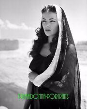 """GENE TIERNEY 8X10 Lab Photo B&W 1941 """"SUNDOWN"""" Elegant Veiled Grace Portrait"""