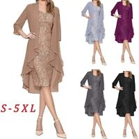 Women Two Pieces Evening Gowns Lace Knee Length Party Bride Dress Chiffon Jacket