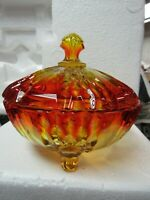 Vintage Amberina Glass Candy Dish with Lid