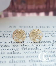 Delicate 9ct Yellow Gold Flower Filigree Stud Earrings ADULTS CHILDREN