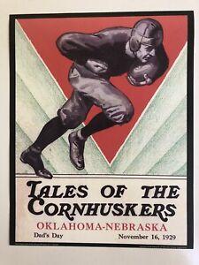 "1929 NEBRASKA CORNHUSKERS vs OKLAHOMA SOONERS 11""x14"" Football Program Poster"