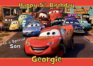 cars pixel personalised A5 birthday card son brother nephew grandson name age