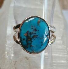001 Turquoise Solid 925 Sterling Silver Gemstone Ring  size P/8 rrp$90