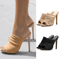 Women Gauze Crinkle Mules Ladies Peep To High Heels Sandals Stiletto Shoes Party