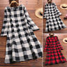 ZANZEA Women Long Sleeve Plaid Check Tunics Casual Long Shirt Dress Midi Dress
