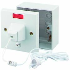 45 Amp Shower Switch Ceiling Pull Cord Comes With 44mm Surface BACKBOX - Double