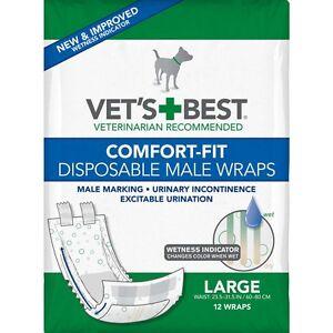 Vet's Best Comfort-Fit Disposable Male Dog Urine Diaper Wrap 12 pk LARGE