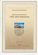 Alemania Hojita Primer Día Castillos Milenario de Meersburg año 1988 (CR-153)