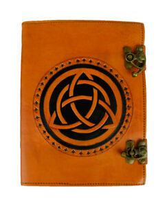 Handmade Leather Journal Diary Notebook Celtic Triquetra