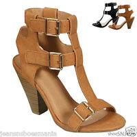 New Women Fashion Strappy T-Strap Gladiator Cuhky Heel Dress Sandal Shoes