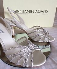 Benjamin Adams Ivory Vintage Wedding Party Bridal Crystal Mesh Shoes Heels Uk 4